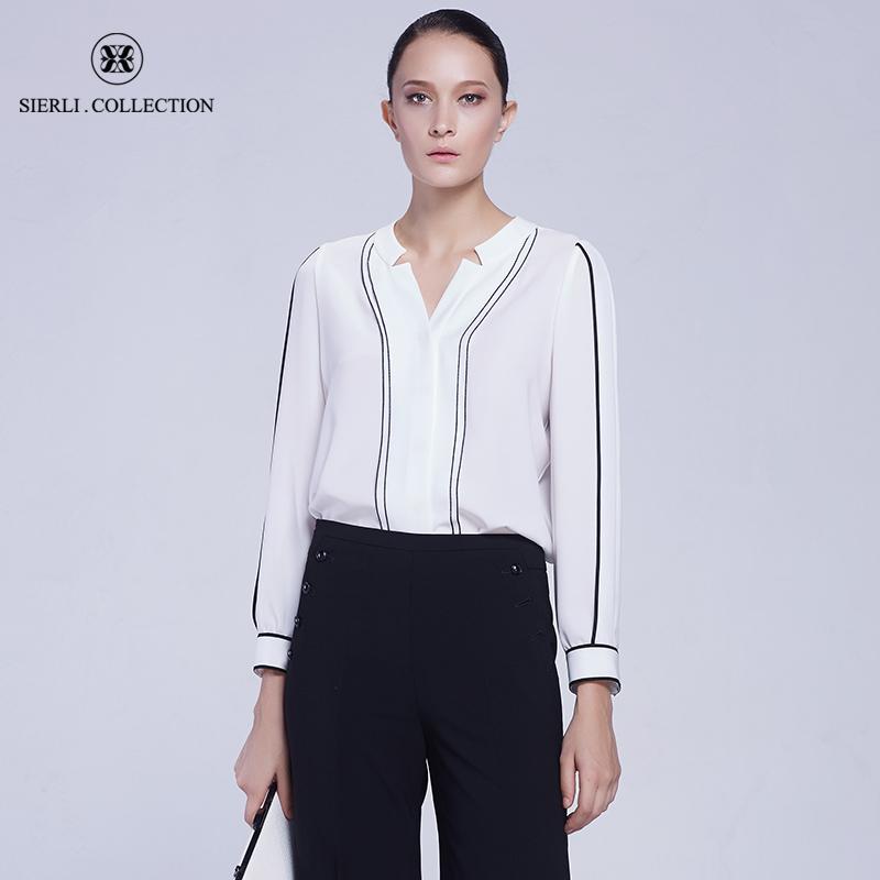 斯尔丽瑟俪正品春夏新款气质修身宽松黑白线条拼色V领长袖衬