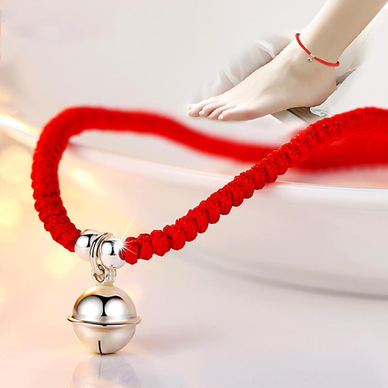 純銀鈴鐺紅繩腳鏈女有聲音情侶複古腳繩男腳環韓國學生本命年辟邪