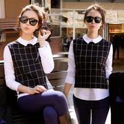 2015韩国春秋季女装中长款休闲长袖衬衣韩版修身格子衬衫学生上衣