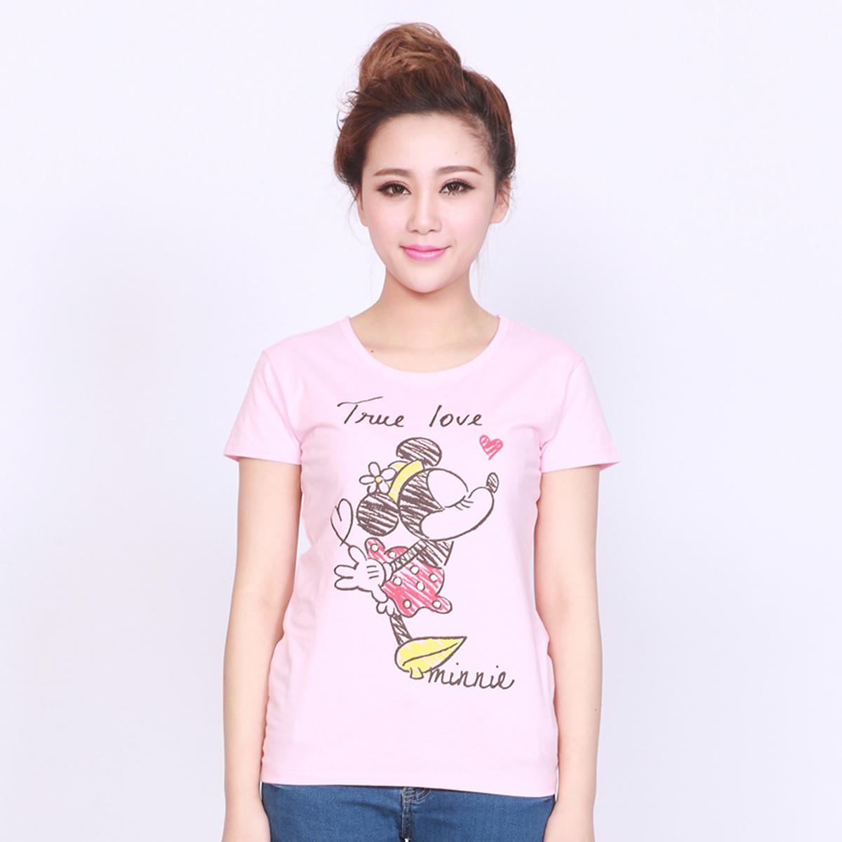 迪士尼女式可愛印花短袖棉質T恤
