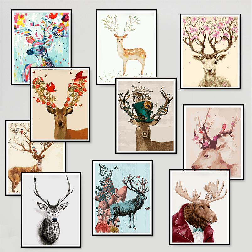 数字油画diy风景花卉人物卡通动物客厅卧室手绘油彩填色鹿装饰画