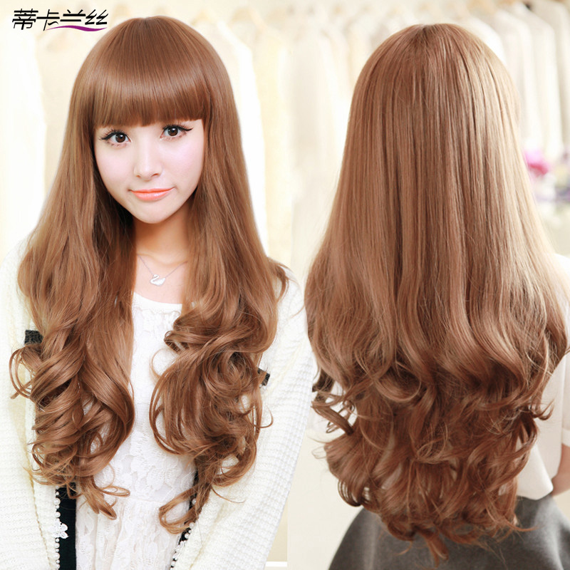 Ms Qi Wig Long Hair Fluffy Bangs Round Face Big Wave In
