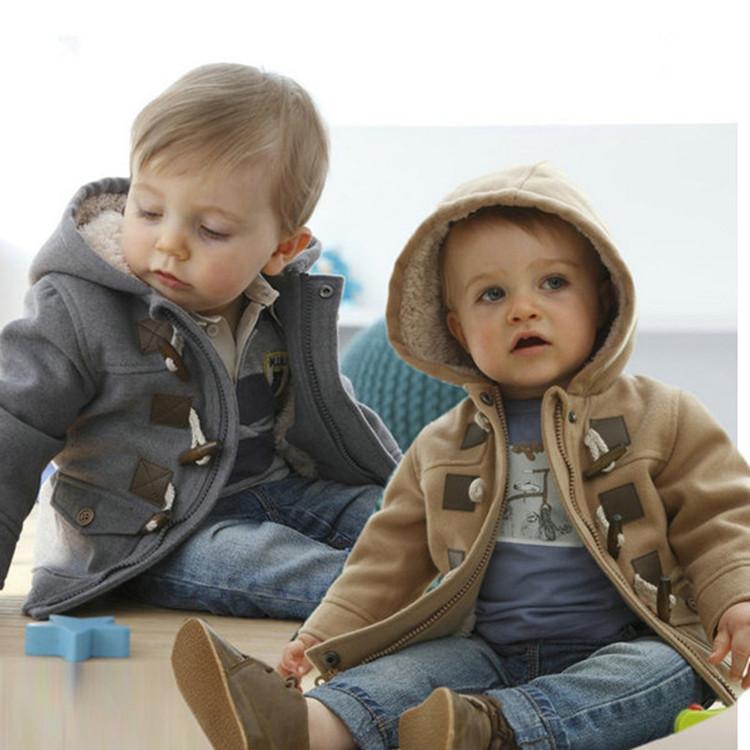 Новая зимняя одежда мужчин детей моды рог кнопку толстым теплое пальто для детей baby мальчики мягкие пальто для почты