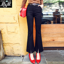 New high waist micro bell trousers for women in spring 2019: Slim, slim, 9-minute trousers, fishtail trousers, open-ended casual trousers