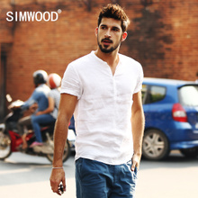 Simwood Men's Suit Summer New Recreational Men's Short Sleeve Linen Shirt Men's Pure White Shirt
