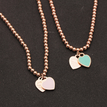 The European and American wind big Fan Yuan bead long necklace Mint green love South Korea fashion jewelry female