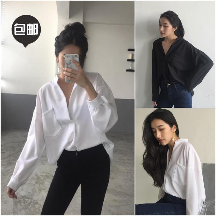 Осень новый темперамент v шеи белая рубашка женщин с длинным рукавом hanfankuansong Корейский блузку студент вершины лета Корея