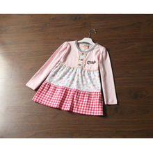 Foreign trade the original quality soft cotton pastoral wind single exported to Japan in the spring and autumn girl floral grid long sleeve T-shirt