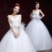 New 2015 spring/summer fashion flower shoulder wedding dresses one shoulder wedding dresses plus size slimming v neck wedding dress white