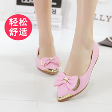 New age season single woman shoes Flat point light mouth bowknot is han edition flowers leisure comfortable OL for women's shoes