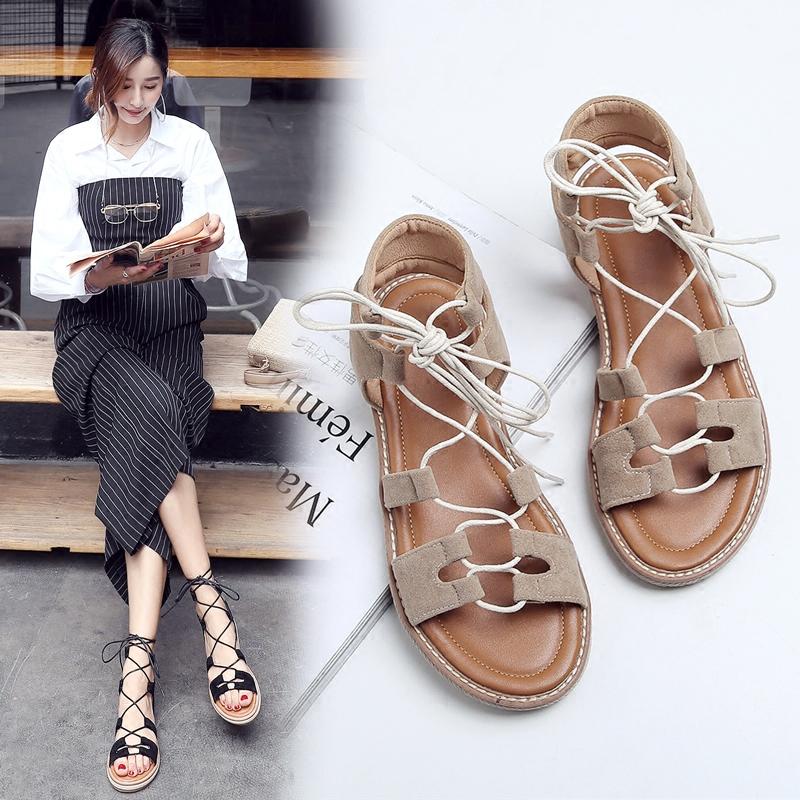 罗马凉鞋女平底学生绑带鞋41-43原宿系带夏天女鞋大码41-43女鞋子