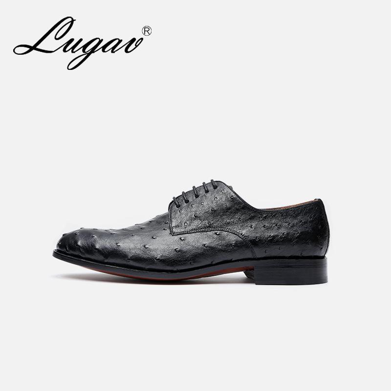 手工定制 LUGAV鹿戈威 英伦进口鸵鸟皮商务正装皮鞋绅士真皮男鞋