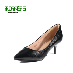 He Chenghang and fall of 2015 new cracked leather shoes with pointed toes high heel shoes stiletto 0010505