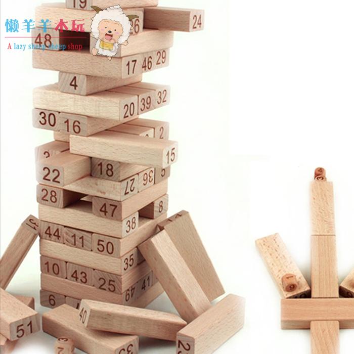 Куча башня строительные блоки 48 лист войти цифровой издание деревянный слой сложить головоломка игра игрушка ребенок баланс разрабатывать детский сад