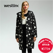 Westlink/West new stars in the 2015 winter long padded hooded cotton elastic waist women's blouses