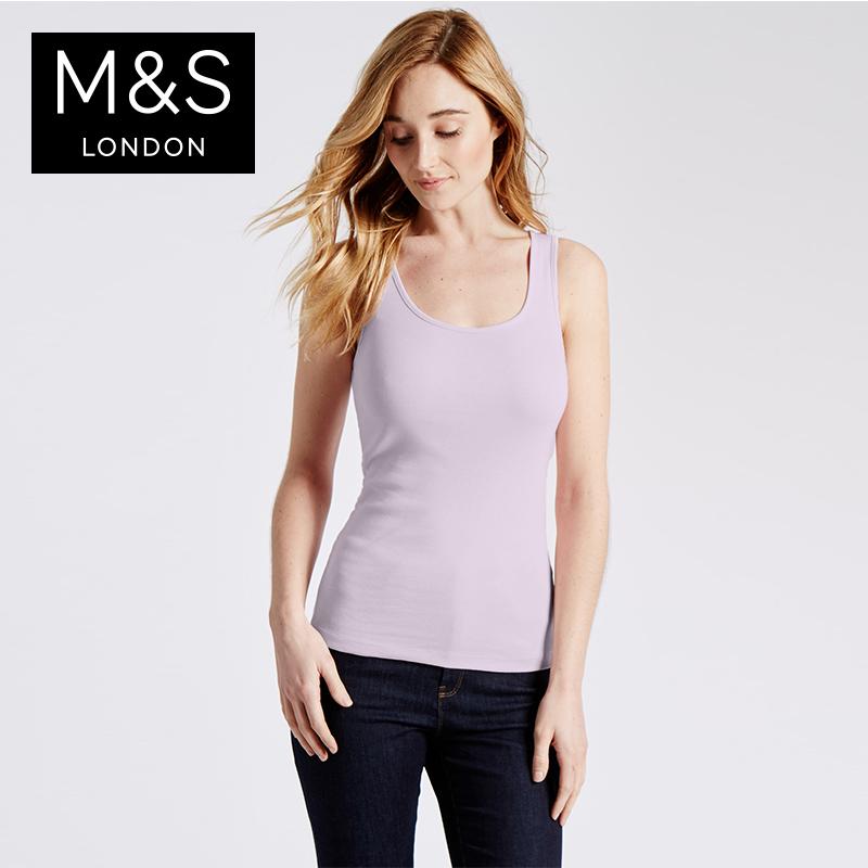 新M  S 馬莎女常洗如新純棉背心吊帶衫上衣 T411019
