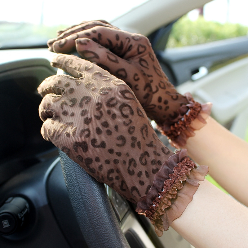 Summer Lace Gloves womens thin net elastic sexy personalized leopard print driving performance sunscreen and UV protection short