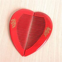 鑫航结婚庆其它用品婚礼红色实木桃心梳子龙凤对梳梳头子