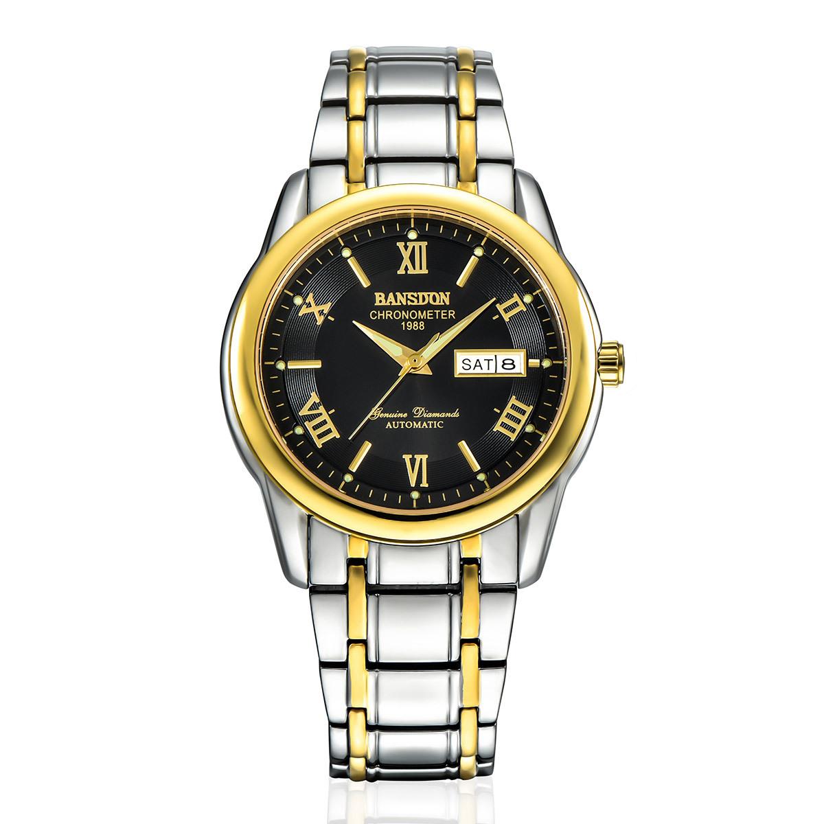Authentic bonshidu watch mens luminous waterproof mens watch automatic mechanical watch fine steel gold watch mens Watch