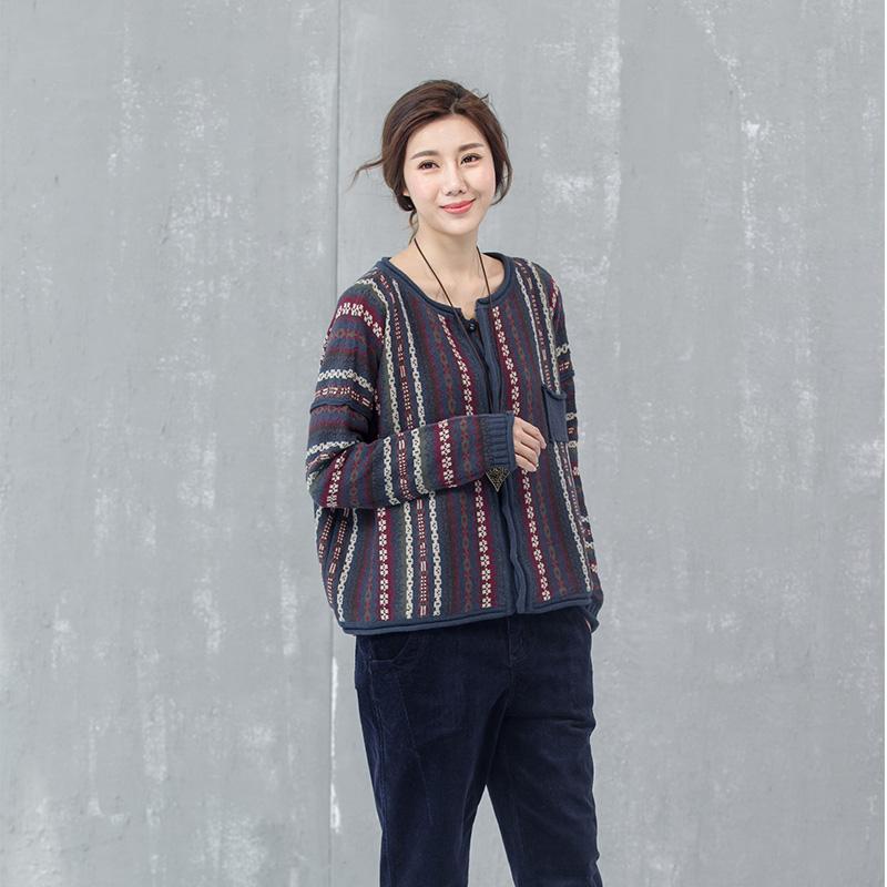 Maisu autumn and winter sweater coat womens new stringer style retro literature and art pure cotton sweater womens stripe cardigan short