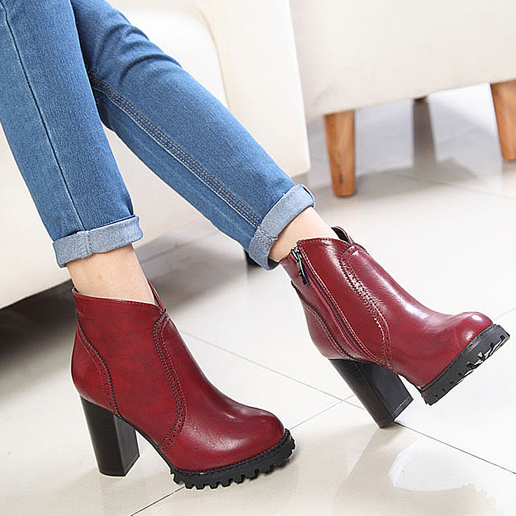 2017 spring new high-heeled shoes with thick heavy-bottomed boots female boots British Lun Mading boots single boots Duantong boots