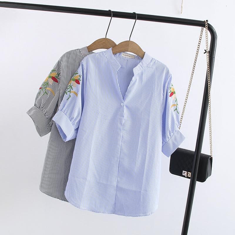 微胖MM妹妹2018夏装新款加肥加大码短袖娃娃衫200斤宽松条纹衬衫