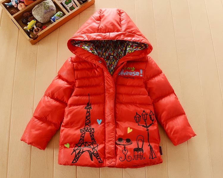 5-006 внешней торговли детей одежда Одежда SS16 камеры серии красным капюшоном стеганый пальто