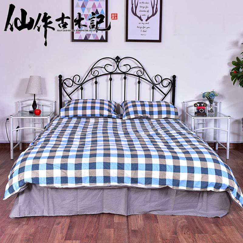 古木記金屬鐵床鐵藝床單人床雙人床鋼木床簡易鐵架床宿舍床1.5米