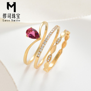 Muse jewelry 18K gold ring 0.3 kt pigeon blood red tourmaline ring Nvjie multicolored fashion V-shaped ring