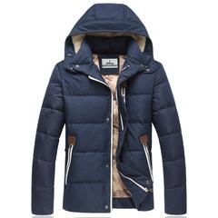 大码韩版男士加厚羽绒服男短款修身男装卸帽外套羽绒服男F10-P130
