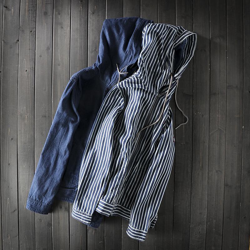 Evil man fresh literary trend evil man striped jacket spring hooded denim coat versatile stormsuit