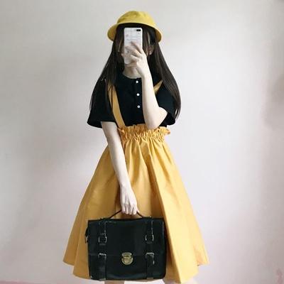 2018夏季新款女装韩版学生短袖衬衣+高腰背带连衣裙两件套中长款