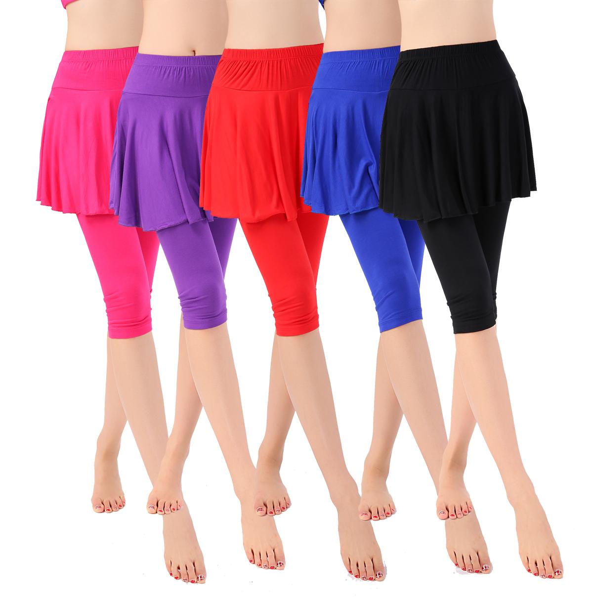 包邮春夏莫代尔广场舞服装七分裙裤运动新款练习练功健身舞蹈裙裤