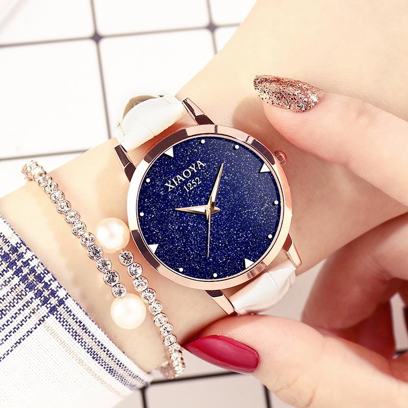 手表女生学生韩版简约时尚潮流防水皮带石英腕表休闲大气星空女表
