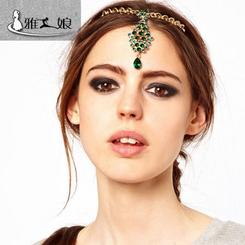 [daily special price] Emerald eyebrow, belly dance, Indian dance head chain, headdress, Dance Costume Accessories