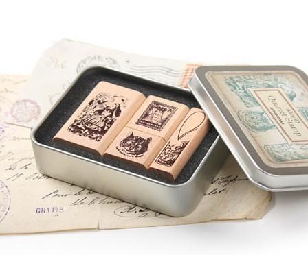 韩国复古装饰铁盒可爱印章 爱丽丝梦游仙境和桃乐丝 橡皮章8款选