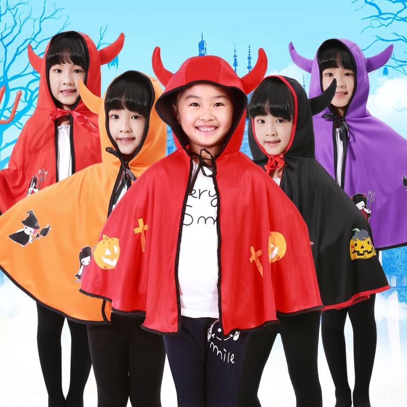 万圣节儿童服装cosplay男女牛角恶魔披肩披风吸血鬼斗篷演出表演