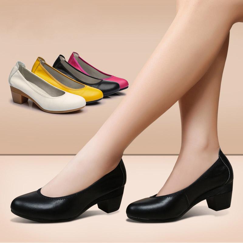 艾芙琳正装粗跟牛皮工作鞋女黑色中跟单鞋职业工鞋软皮鞋大码女鞋