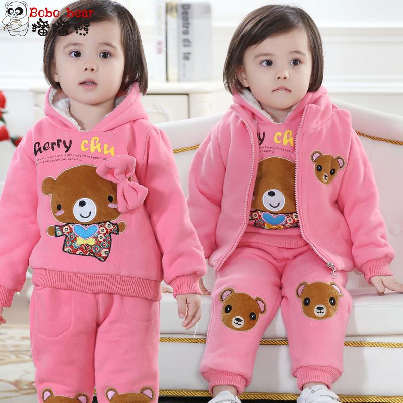 冬季童装 女童冬装2018儿童套装小孩衣服冬款加绒加厚卫衣三件套