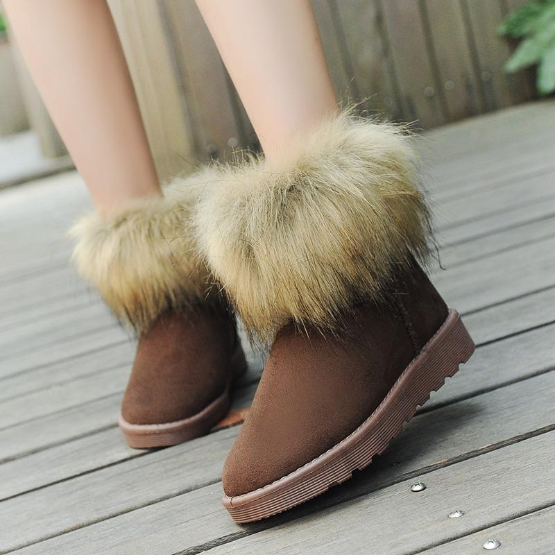 Водонепроницаемый большой лиса мех снега сапоги меха женские зимние сапоги женщины короткие трубки осени 2015 нагоны утолщаются мягкий хлопок обувь