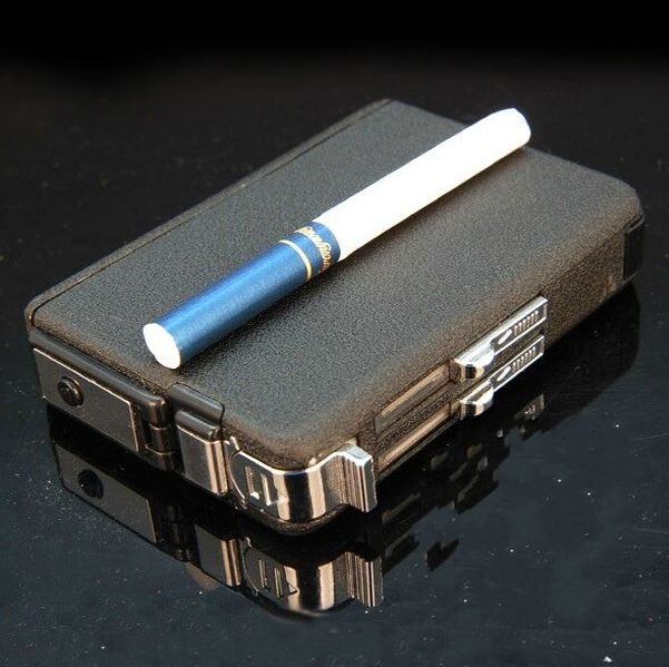 愛爾凱自動煙盒煙具 10支裝 防風帶打火機  磨砂香 煙盒 包郵