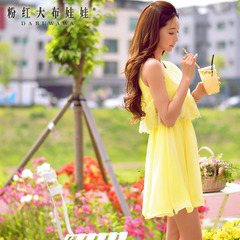 Chiffon dress big pink doll new ladies inlaid lace 2015 slim dresses, summer dress