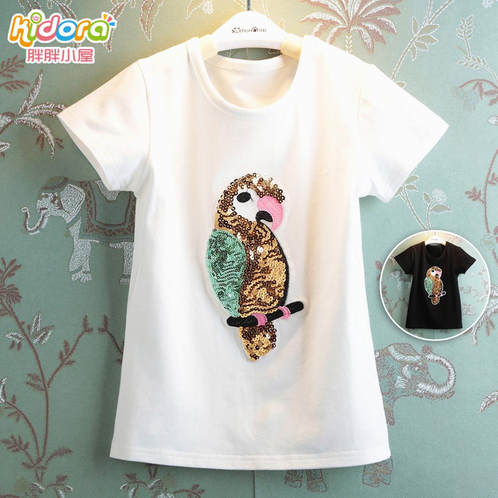 Детская одежда детей летом 2015 мода мультфильм Девушки в блестками попугай случайных т короткий рукав футболки D91