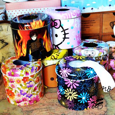 2个包邮可爱创意铁皮卷纸筒抽纸盒纸巾筒圆筒卷纸纸巾盒卷筒纸盒