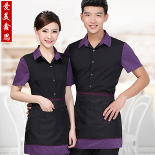 Into Ming Weier hotel waiter overalls summer female short-sleeved uniforms restaurant cafe tea floor M