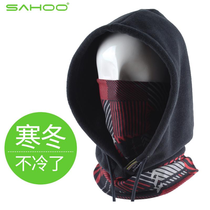 SAHOO戶外山地自行車騎行頭套頭巾麵巾頭罩 保暖防風塵抓絨帽