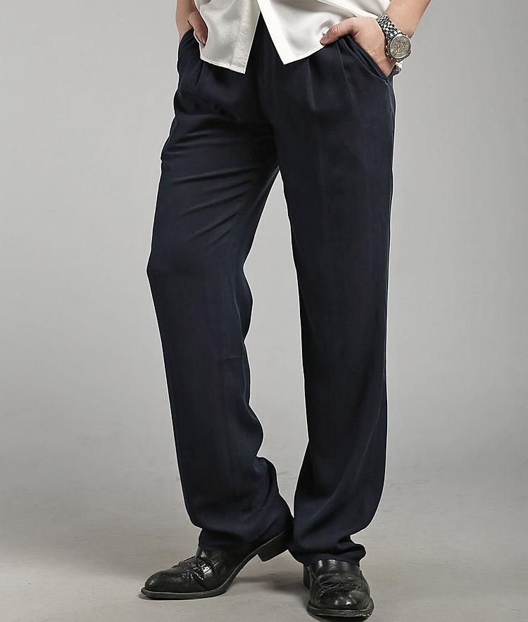 Hangzhou silk kaixianmeng pure silk pants mulberry silk silk silk spinning middle aged and old leisure pants medium high waist large pants