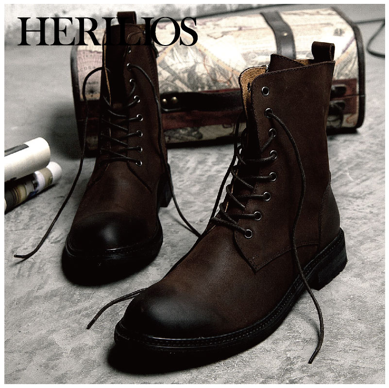 2722a916c95 HERILIOS leather men boots winter boots trend of casual men's British  tooling boots fashion high-top boots