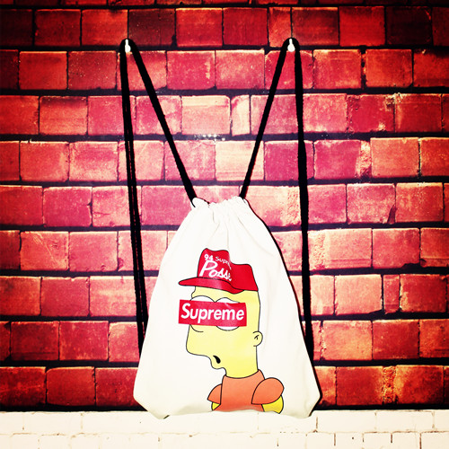 57d4a0ab176e53 Drawstring Backpack Drawstring bags supreme Simpson dead fly ...