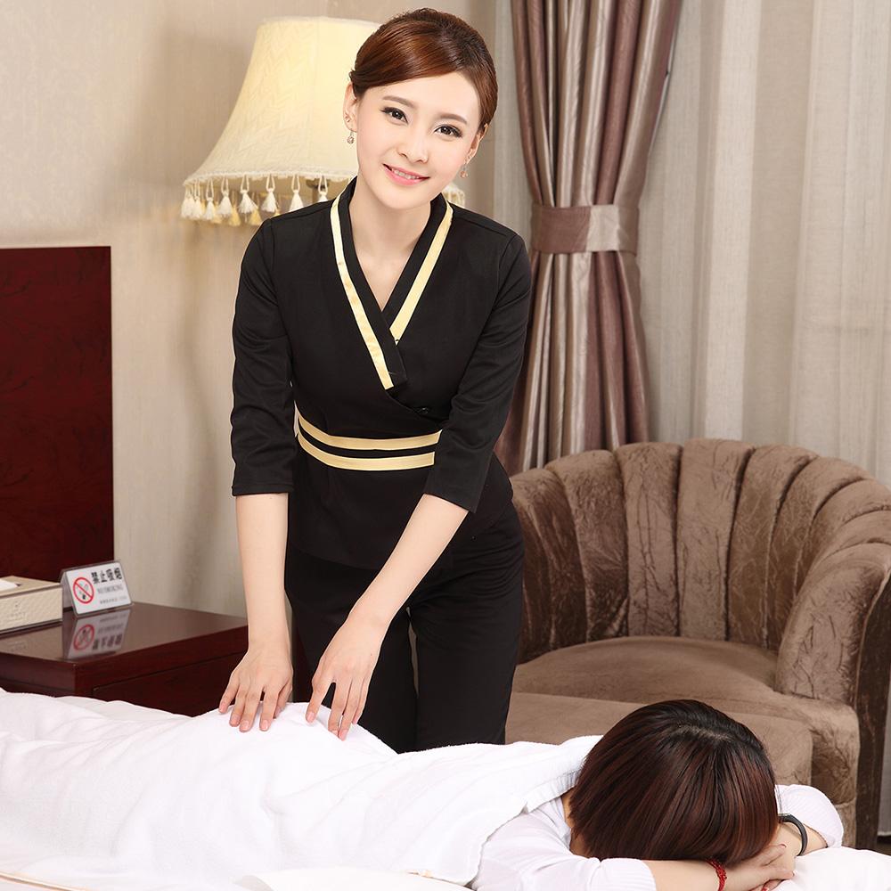 足浴足療美容院技師工作服女 裝酒店會所SPA養生館套裝中袖